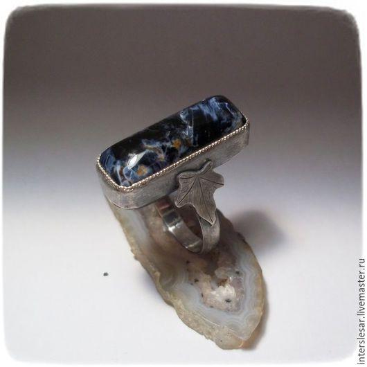 """Кольца ручной работы. Ярмарка Мастеров - ручная работа. Купить Петерсит кольцо """"Плющ"""". Handmade. Синий, кольцо с камнем"""