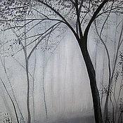 Картины и панно ручной работы. Ярмарка Мастеров - ручная работа Картина  Серое  утро   пейзаж  акрил. Handmade.