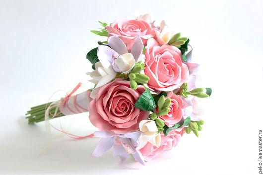 Свадебные цветы ручной работы. Ярмарка Мастеров - ручная работа. Купить Свадебный букет невесты Екатерина Розы и орхидеи. Handmade.