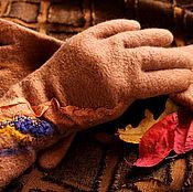 Аксессуары ручной работы. Ярмарка Мастеров - ручная работа Перчатки валяные Тональность осени. Handmade.