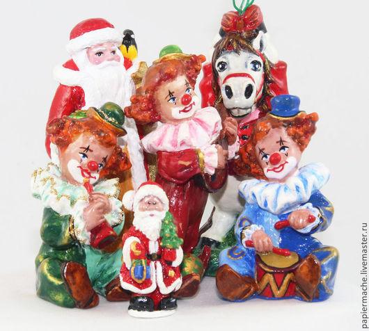 Елочные игрушки, елочная игрушка, фигурки из папье маше, клоун, клоуны, елочные украшение, скульптура  из папье маше, папье маше, папьемаше, папье-маше, елочные игрушки фигурки.