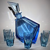 Винтаж handmade. Livemaster - original item Decanter 5 glasses aquamarine glass Bohemia. art deco. Handmade.