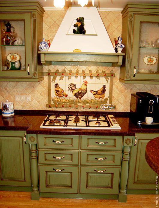 Декор поверхностей ручной работы. Ярмарка Мастеров - ручная работа. Купить Роспись плитки  Фартук для кухни Кантри. Handmade.