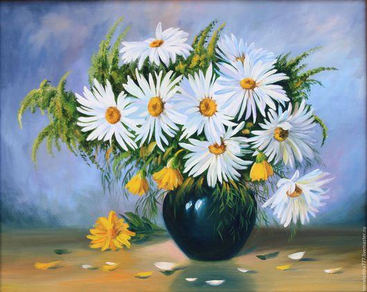Картины цветов ручной работы. Ярмарка Мастеров - ручная работа. Купить Ромашки. Handmade. Ромашки, букет в вазе, цветы