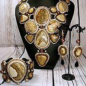 """Украшения handmade. Livemaster - original item Bead embroidered set of jewelry """"The Dunes of the Sahara"""". Handmade."""