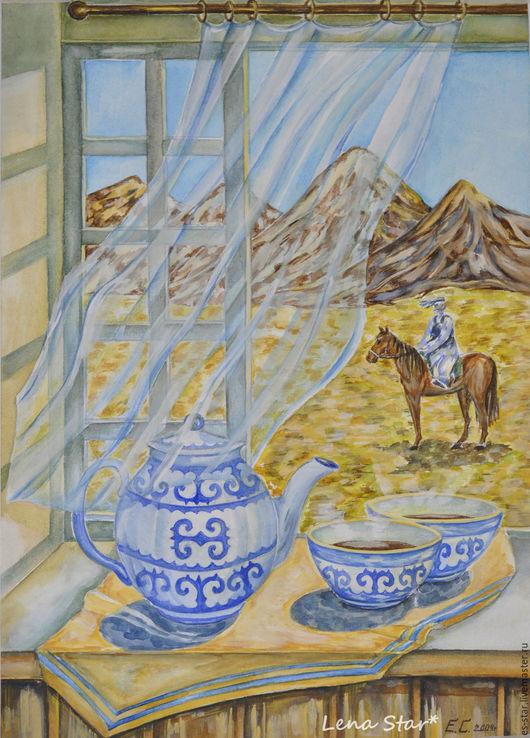 Натюрморт ручной работы. Ярмарка Мастеров - ручная работа. Купить Казахский натюрморт. Handmade. Комбинированный, натюрморт для кухни, натюрморт, чай