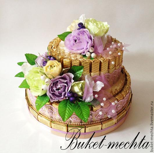 Букеты ручной работы. Ярмарка Мастеров - ручная работа. Купить Торт из конфет. Handmade. Разноцветный, цветы, презент, розы из конфет