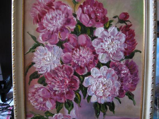 """Картины цветов ручной работы. Ярмарка Мастеров - ручная работа. Купить Картина  маслом  цветы """"Пионы"""". Handmade. Картина с цветами"""