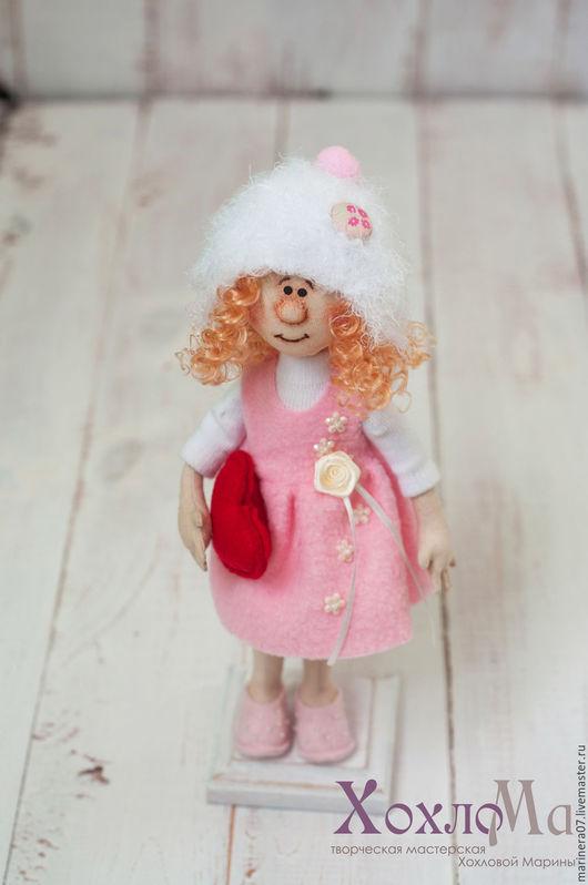 Коллекционные куклы ручной работы. Ярмарка Мастеров - ручная работа. Купить Ангелочек в розовом. Handmade. Авторская игрушка, ангелочек, шерсть