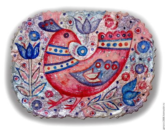 Животные ручной работы. Ярмарка Мастеров - ручная работа. Купить Розовая птица. Handmade. Комбинированный, панно, декоративное панно, акварель