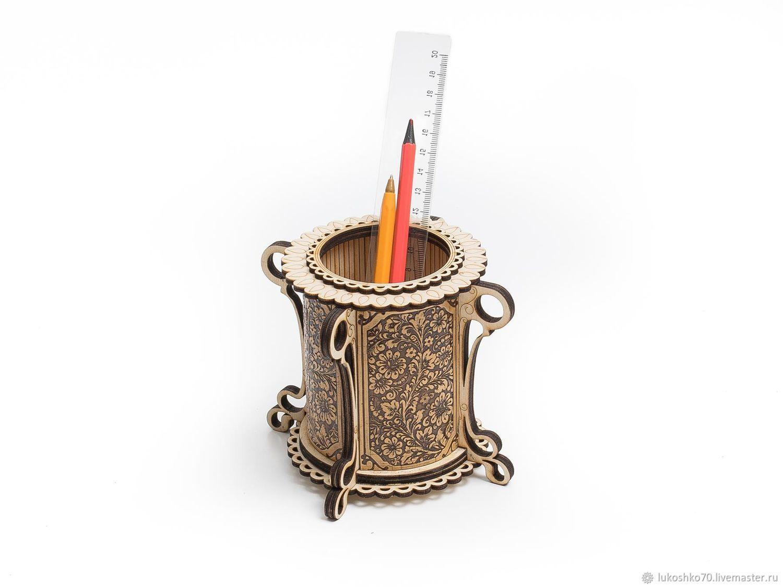 Карандашница из дерева «Цветы». Подставка под ручки, Вазы, Томск,  Фото №1
