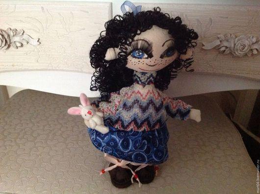 Коллекционные куклы ручной работы. Ярмарка Мастеров - ручная работа. Купить Шура. Handmade. Синий, куколка на счастье, бусины, бязь