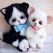Куклы и игрушки ручной работы. Ярмарка Мастеров - ручная работа Котик и мышонок.Лучшие друзья. Handmade.