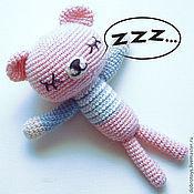 Куклы и игрушки ручной работы. Ярмарка Мастеров - ручная работа Спящий мишка розовый. Handmade.