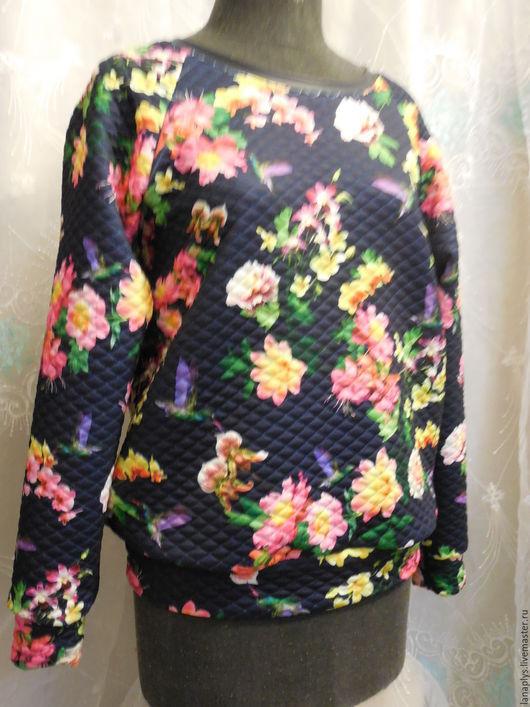"""Кофты и свитера ручной работы. Ярмарка Мастеров - ручная работа. Купить Свитшот """"Флора"""". Handmade. Тёмно-синий, свитшот купить"""