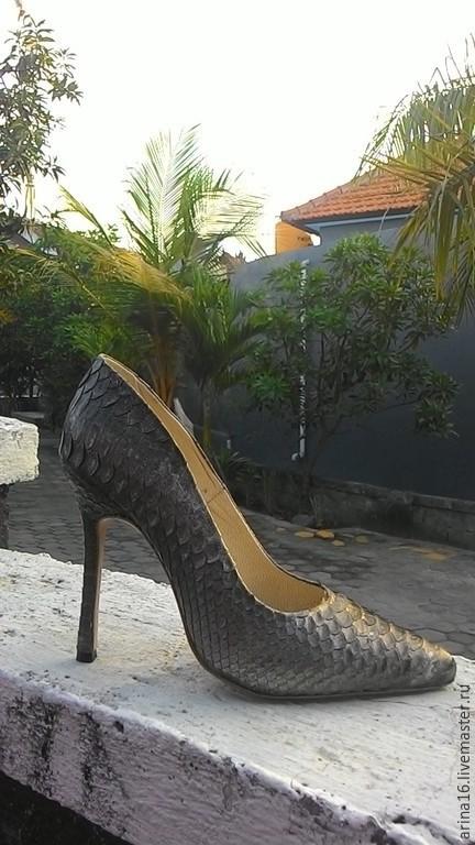 Обувь ручной работы. Ярмарка Мастеров - ручная работа. Купить Туфли- лодочки. Handmade. Темно-серый, туфли из питона, лабутены
