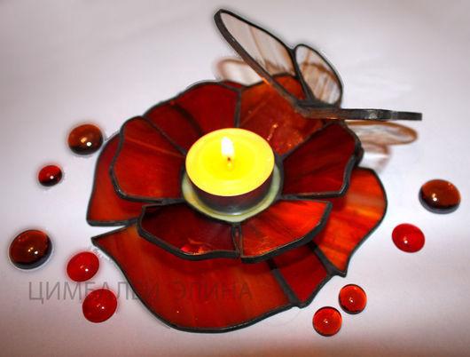 """Подсвечники ручной работы. Ярмарка Мастеров - ручная работа. Купить Подсвечник """"Аленький цветочек"""". Handmade. Подсвечник, цветок, стекло"""