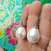 handmade. Livemaster - original item A 564 Large Majorcan earrings, silver, gilding, rhinestones. Handmade.