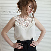 Одежда ручной работы. Ярмарка Мастеров - ручная работа Белая блузка из натурального шелка. Handmade.