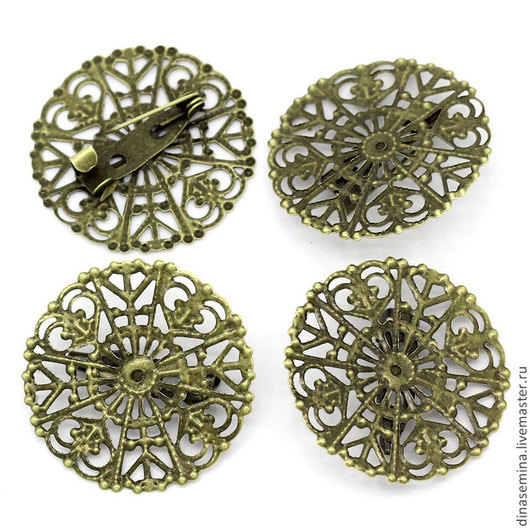 Основа для броши филигранная малая круглая цвет антич  бронз  д30мм  1шт= 15руб