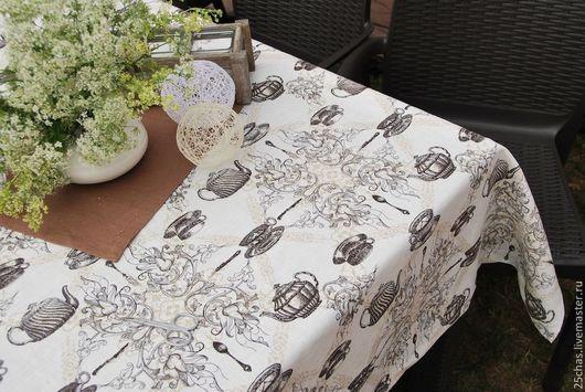 """Текстиль, ковры ручной работы. Ярмарка Мастеров - ручная работа. Купить Скатерть льняная  """"Чаепитие"""". Handmade. Белый, интерьер, лён"""