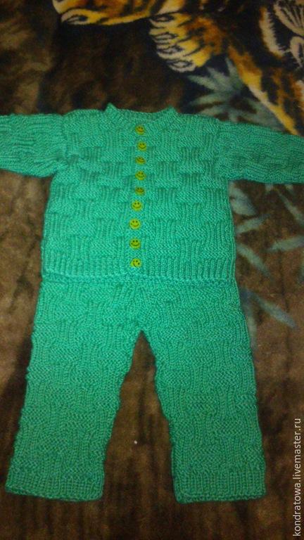 Комплекты аксессуаров ручной работы. Ярмарка Мастеров - ручная работа. Купить вязанный детский костюм. Handmade. Зеленый, однотонный, полушерсть
