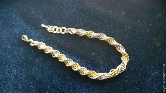 Браслеты ручной работы. Ярмарка Мастеров - ручная работа. Купить Спиральный браслет кольчужного плетения. Handmade. Разноцветный, спираль