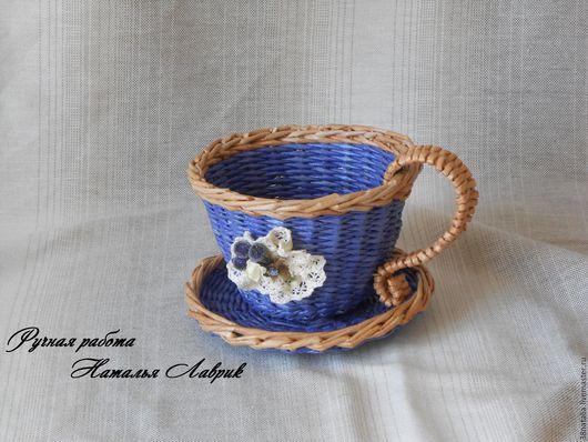 Кухня ручной работы. Ярмарка Мастеров - ручная работа. Купить Плетеная чашечка. Handmade. Синий, конфетница, бусины для украшений