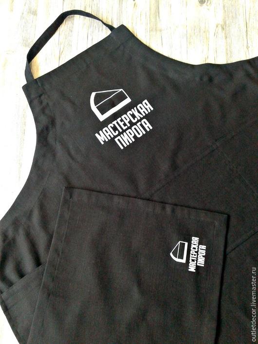 Кухня ручной работы. Ярмарка Мастеров - ручная работа. Купить Фартук черный льняной с вашим логотипом. Handmade. Черный