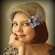 """Аксессуары ручной работы. Ярмарка Мастеров - ручная работа соломенная шляпка накладка """"Клавдия"""". Handmade."""