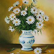 Картины и панно ручной работы. Ярмарка Мастеров - ручная работа Ромашки в вазе.. Handmade.