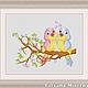 """Схема для вышивки крестиком """"Влюблённые птички"""", Вышивка, Александров, Фото №1"""