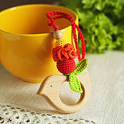 Одежда handmade. Livemaster - original item Teether-teething toy with a bird positively-vitamin. Handmade.