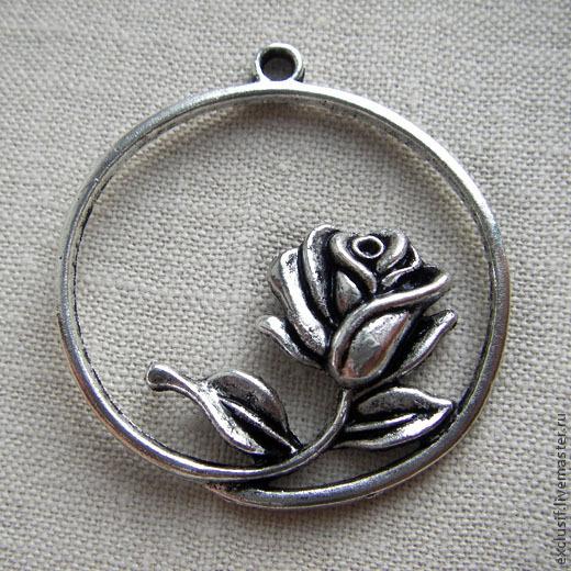 Фурнитура для создания украшений - подвеска для кулона роза в круге