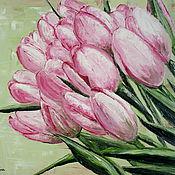 """Картины и панно ручной работы. Ярмарка Мастеров - ручная работа """"Розовые тюльпаны"""" - 40х50 см - Картина маслом. Handmade."""