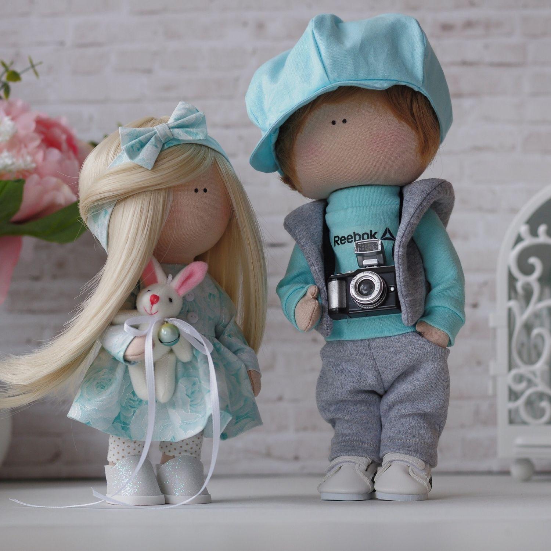 Куклы тыквоголовки ручной работы. Ярмарка Мастеров - ручная работа. Купить Куклы интерьерные парочка мальчик и девочка Тиффани. Handmade.