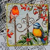 """Панно ручной работы. Ярмарка Мастеров - ручная работа Птицы из серии """"зимний сад"""". Handmade."""