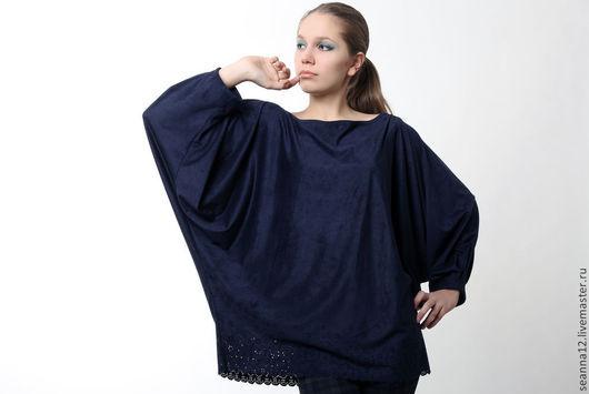 """Большие размеры ручной работы. Ярмарка Мастеров - ручная работа. Купить Блуза-туника безразмерная из (на 4-5 размеров) """"Синяя птица"""". Handmade."""