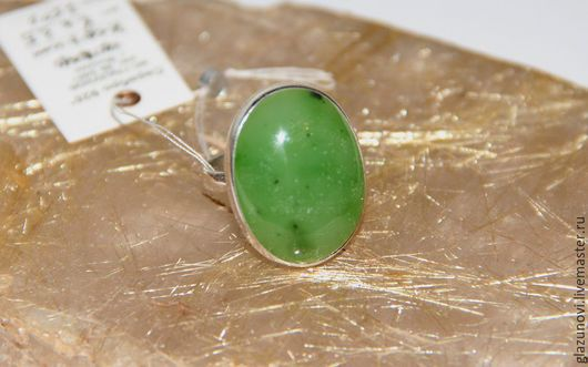 Кольца ручной работы. Ярмарка Мастеров - ручная работа. Купить Серебряное кольцо (925) с нефритом. Handmade. Зеленый, нефрит