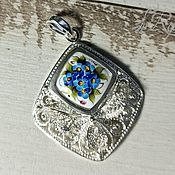 handmade. Livemaster - original item Gloria finift pendant, 999 silver. Handmade.