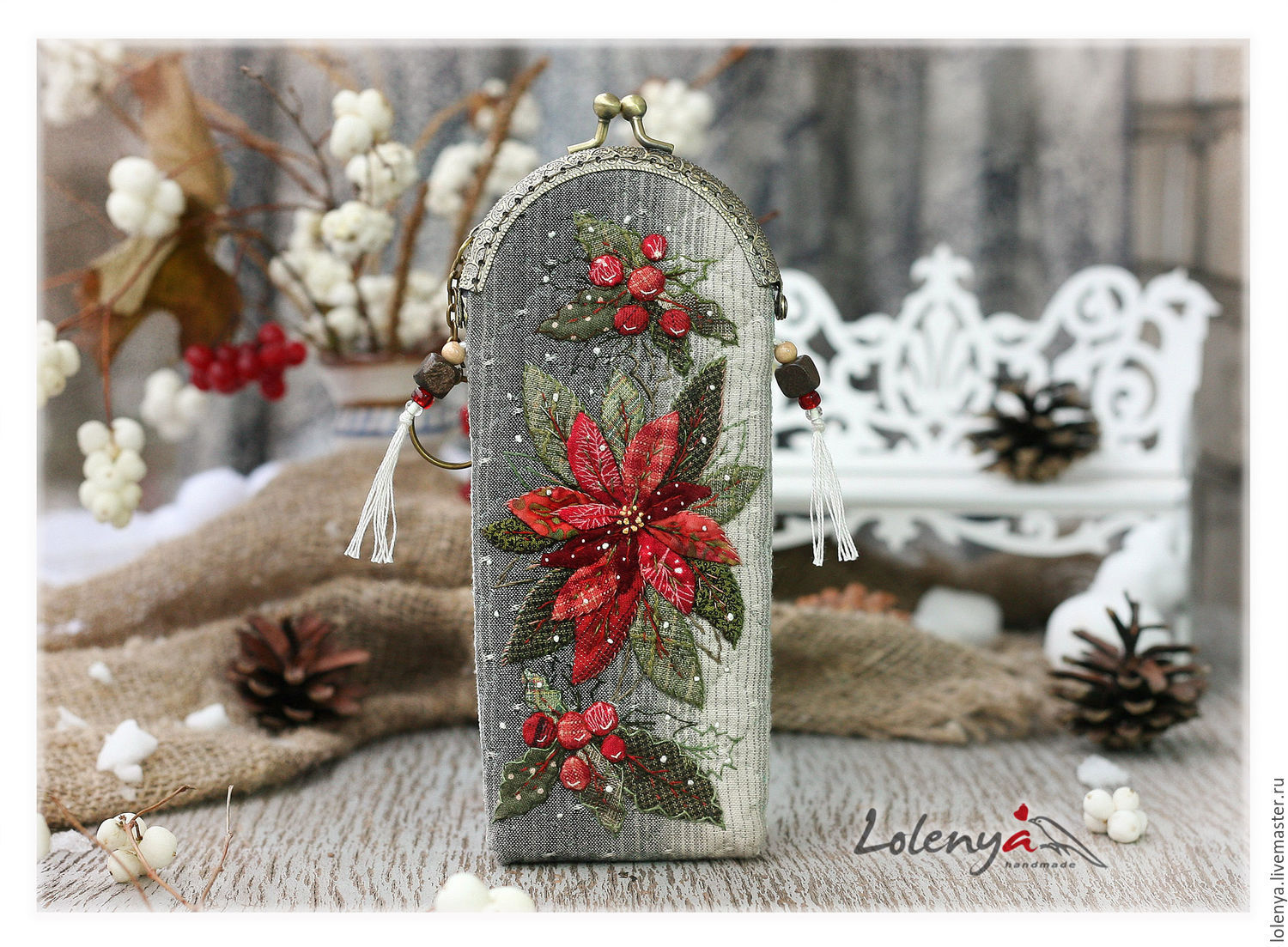 Case for glasses 'Christmas star' Japanese patchwork, Eyeglass case, St. Petersburg,  Фото №1