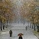 Город ручной работы. Ярмарка Мастеров - ручная работа. Купить Авторская картина Первый снег.. Handmade. Бежевый, Снег, город
