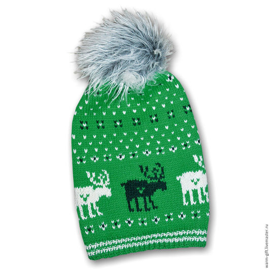 """Комплект """"Зеленый олень"""" (01-06) Set """"Green Deer"""" (Hat and mittens) (01-06) В комплекте: шапка (длинна до лихого помпона 32 см) 1 шт. и митенки (20 х 9,5 см) 2 шт. Цена 3500 руб. (45 EUR)"""