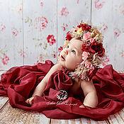 """Работы для детей, ручной работы. Ярмарка Мастеров - ручная работа Шапочка для фотосессии новорождённой с цветочным декором """"Осенняя"""". Handmade."""