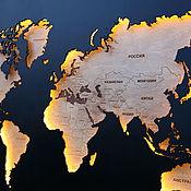 Картины и панно handmade. Livemaster - original item World map with backlight L. Handmade.