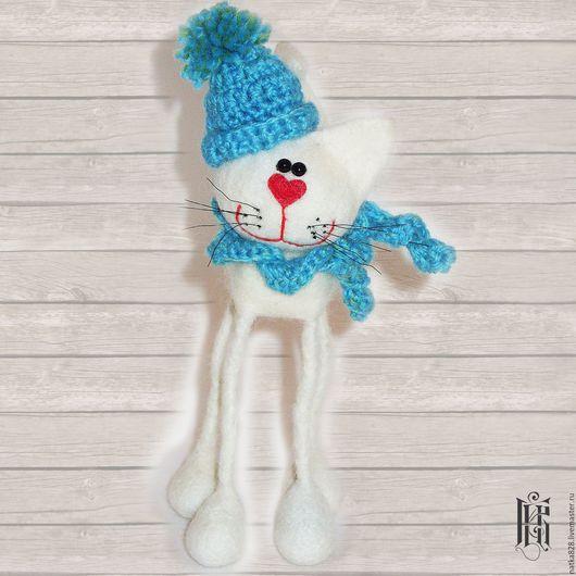 Куклы и игрушки ручной работы. Ярмарка Мастеров - ручная работа. Купить Кот на длинных ножках Сухое валяние 15 см. Handmade.