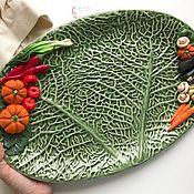 Тарелки ручной работы. Ярмарка Мастеров - ручная работа Блюдо Икеа под овощи с декором ручной работы из полимерной глины. Handmade.