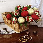 Цветы и флористика ручной работы. Ярмарка Мастеров - ручная работа Букет из 17 тюльпанов (в тюльпанчик). Handmade.