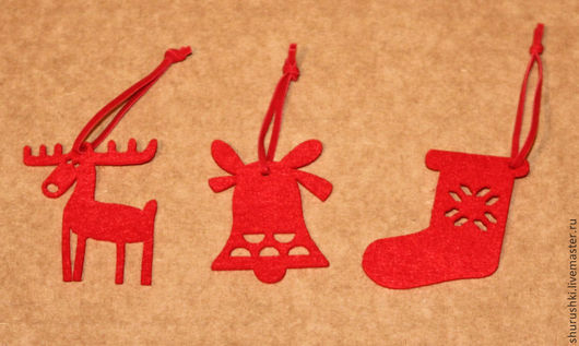 Валяние ручной работы. Ярмарка Мастеров - ручная работа. Купить Новогодние фигурки из фетра. Handmade. Ярко-красный, рождественский сапожок
