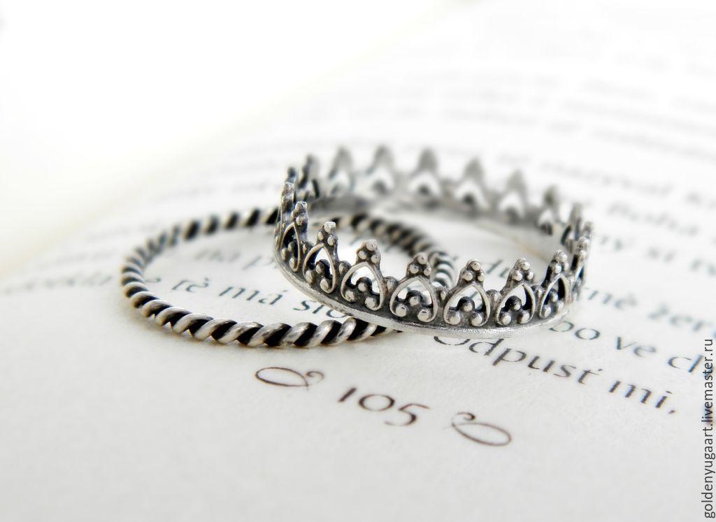Кольца ручной работы. Ярмарка Мастеров - ручная работа. Купить Набор из двух колец Моя Королева, серебро 925 пробы. Handmade.
